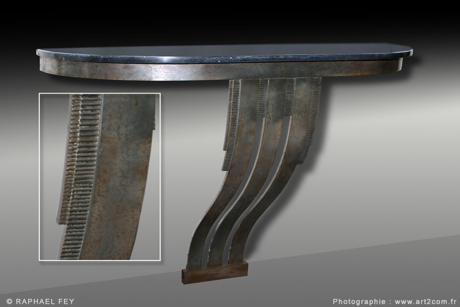 Console art deco fer forge for Console murale fer forge